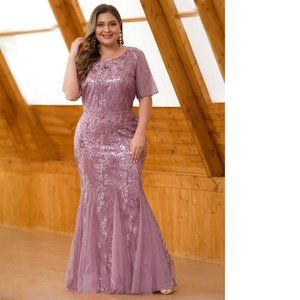 Orchid Sequin Gown Short Sleeves